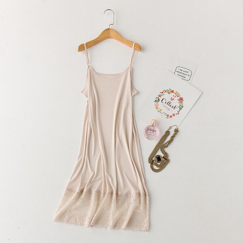 Women's Nature Silk Lace Camisoles Sling Sleepwear 3 Colors Slim Sexy Elegant Night Dress Sleeveless Nightgowns Night Skirts