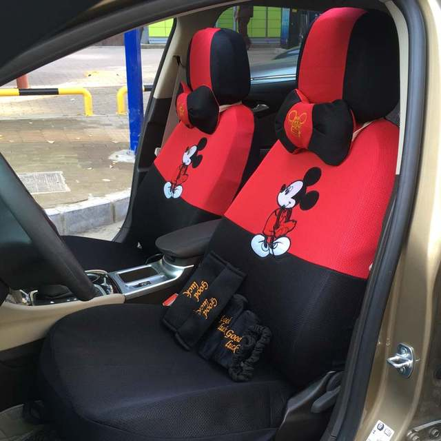 17pcs Universal Car Seat Covers Cartoon Mickey Mouse Interior Accessories For Mesh