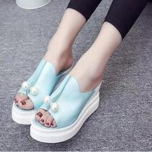 2016 summer platform sandals women Women's High Heels Toe sandals round shoes flip flops wedge sandals flat sandals