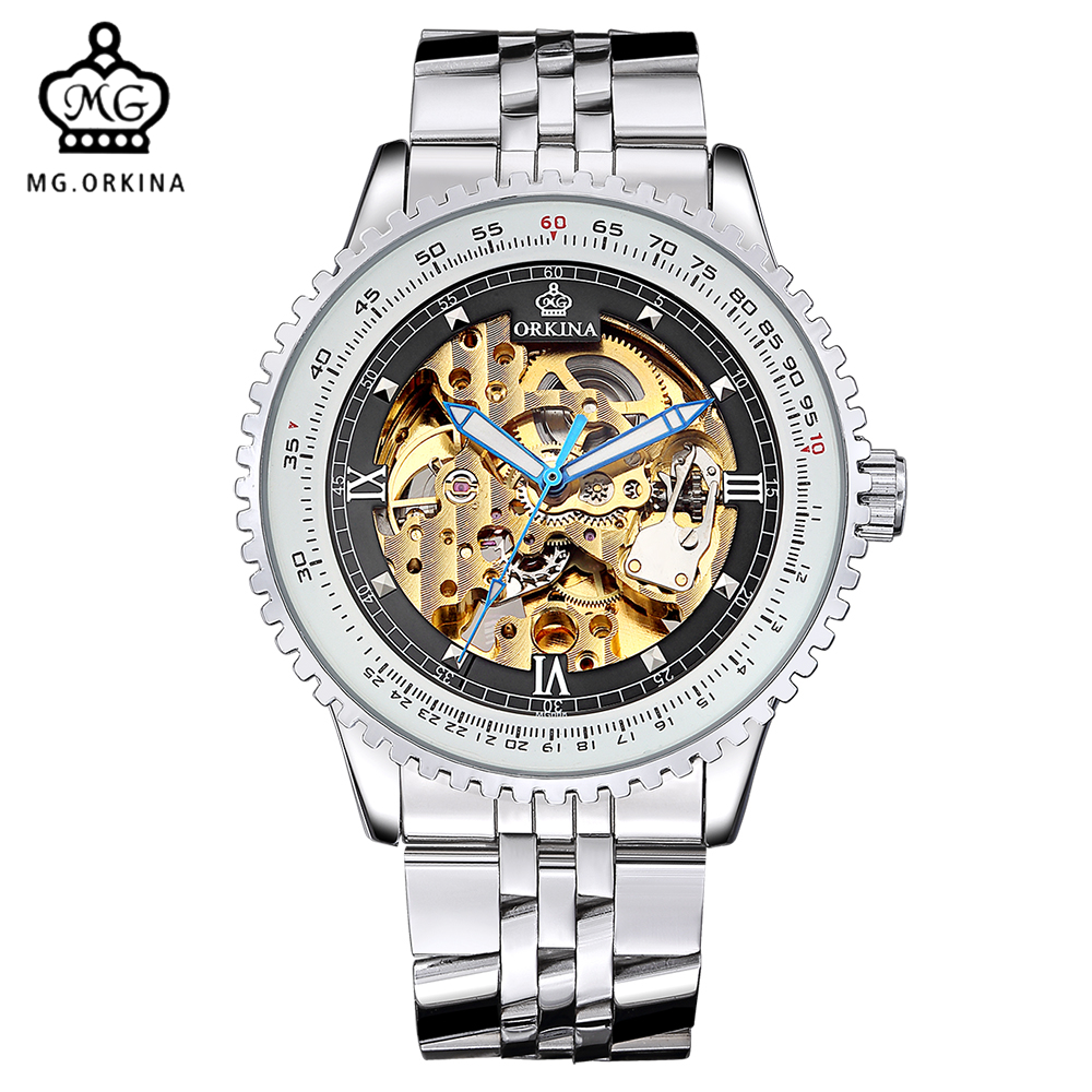 ORKINA Brand Stainless Steel Band Erkek Kol Saati Luxury Gold Skeleton Auto Mechanical Men Wrist Watch Relogio MasculinoORKINA Brand Stainless Steel Band Erkek Kol Saati Luxury Gold Skeleton Auto Mechanical Men Wrist Watch Relogio Masculino
