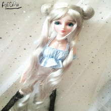 9 10 pouces BJD poupée perruque double cheval couleur argent marin lune perruque pullip