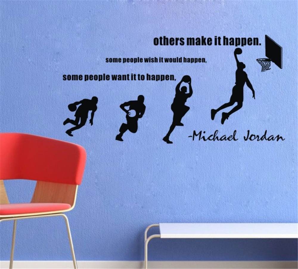 Michael Jordan Wall Decals Basketball Dunk Sport Wall Stickers Decal Stride  Lay UP Sports Quotes Room Decor Size 114*55cm In Wall Stickers From Home ...
