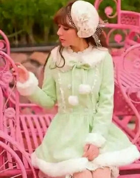 Princess sweet lolita coat Candy rain warm winter thick long coat green breasted wool ball wool coat overcoat TGYDY01
