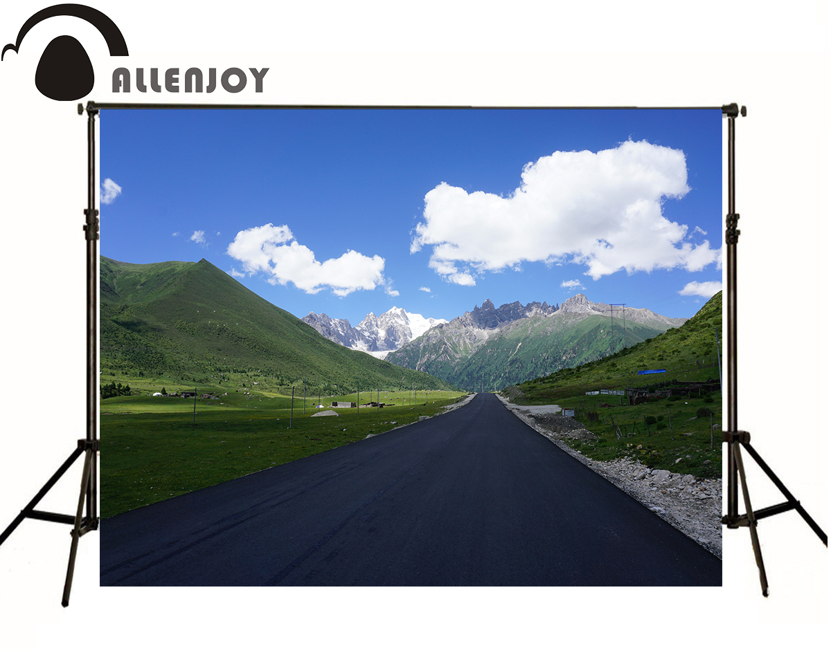 Allenjoy photographic background Snowy road blue sky and white clouds kids vinyl photocall fabric photography backdrops jerob snowy blue 240