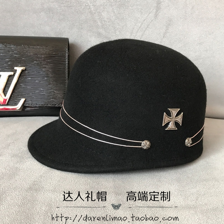 Crow heart shuangkou knights of baseball caps hats for men and women personality homburg leisure cool short eaves equestrian knights of the new han edition wool equestrian hat baseball cap hats for men and women metal chain badge