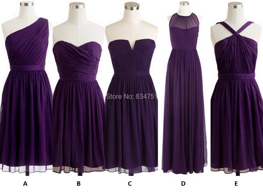 Eggplant purple series short bridesmaid dress wedding for Different necklines for wedding dresses