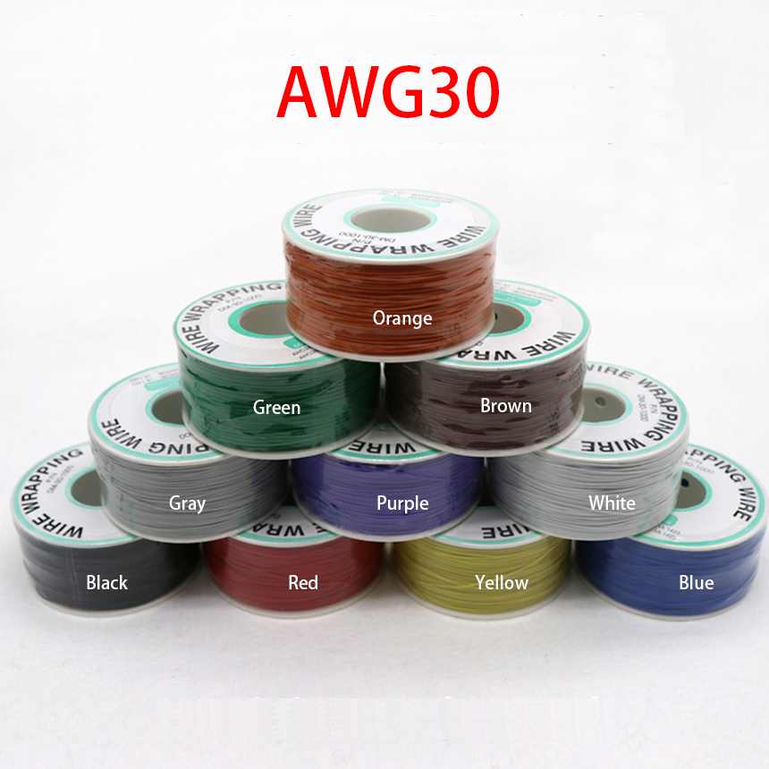 30AWG 30# UL1423 PVC Coated Tin Plated Copper Multicolor PCB Welding OK Single Line Cable Reel Flying Jumper Wrapping Wire 1pcs ok line 0 5mm 30awg wire wrapping wrap flexible insulation tin plated jumper cable 1000ft pcb flying jumper wire