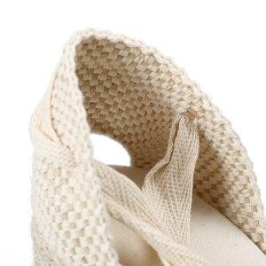 Image 4 - Nowy 0 3cm Tienda Soludos damskie sandały na koturnie pasek na kostkę Cap Toe Espadrille sandały zwięzłe bawełniane tkaniny {sandały} kobiety