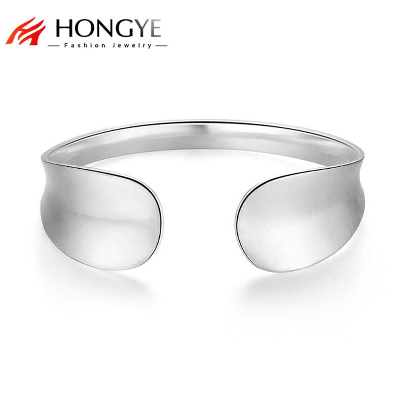 HONGYE Statement Punk Mens Pulseras Minimalist Silver Color Alloy Width Open Bangle Adjustable Jewelry Women Unisex Bracelets