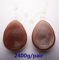 Black Silicone Breast 2400g/pair Realistic Breast Forms Artificial Fake Breast Crossdresser Boobs