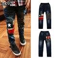 Дети джинсы мальчиков 2016 новых осенью детская одежда мальчики девочки колено брюки звезда печати дети дети джинсы брюки 3-13Y