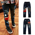 kids jeans boys 2016 the new autumn children's clothing boys girls knee star print pants kids children jeans trousers 3-13Y