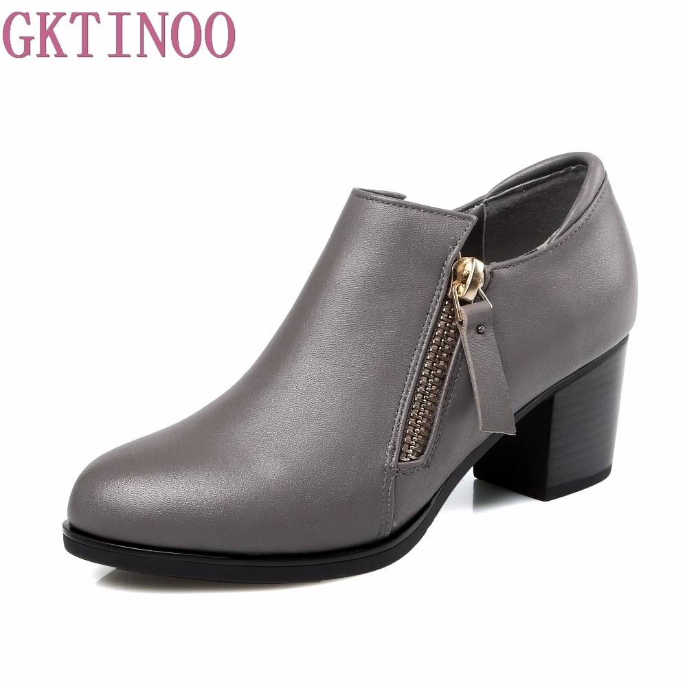 Autumn New Women s High Heels Pumps Deep Mouth Thick Heel Round Toe Genuine Leather Woman