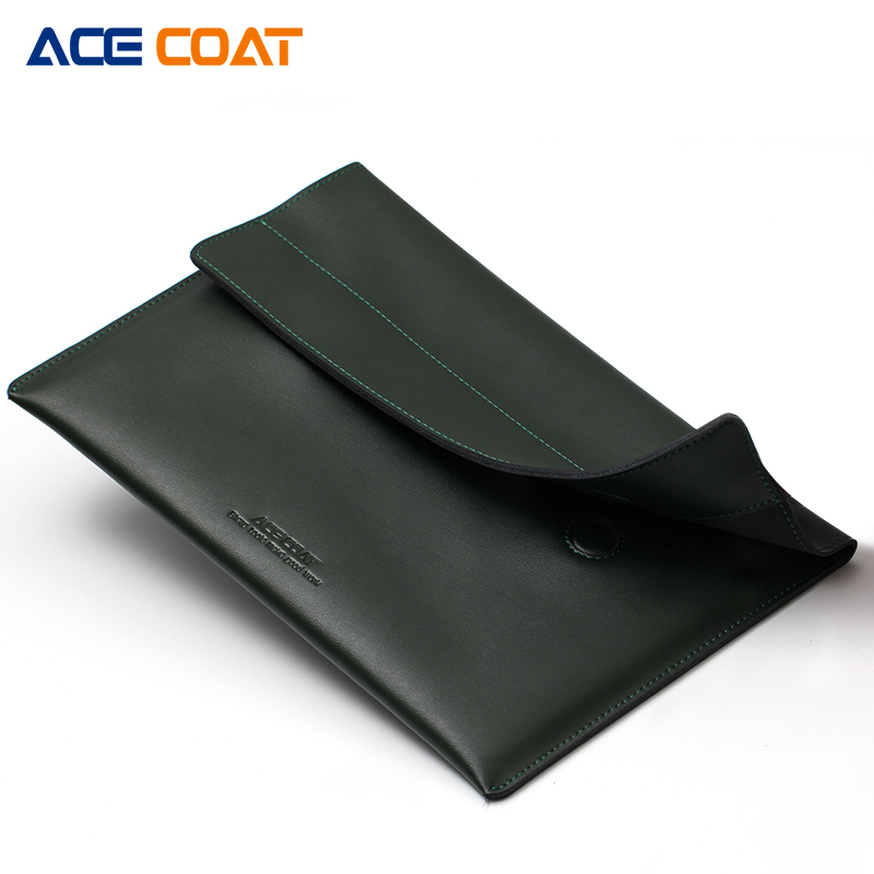 ACECOAT Split Leath Laptop Sleeve Case Bag with Handle & Pockets for MacBook Air/Pro 15.4 Retina 13.3 Inch/Notebook case waterproof canvas organizer laptop sleeve case bag with handle