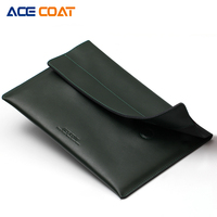 ACECOAT Split Leath Laptop Sleeve Case Bag With Handle Pockets For MacBook Air Pro 15 4