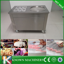 Free shipping Thailand stainless steel customized fry ice cream machine with topping cooling tacks