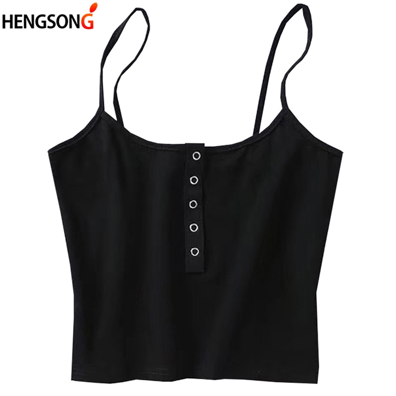 HENGSONG Sexy Spaghetti Strap Knitted Crop Tops Women Sleeveless Camisole Female Vest Summer Tops Female Camis Short Tops 713158