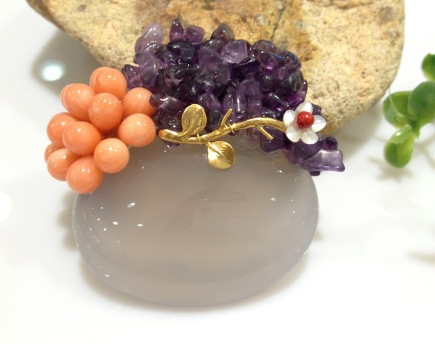 Semi-precious Stone Brooch With Flower For Women Natural Stone Brooch Pins Purple Free Shipping natural semi precious stone brooches pins with freshwater pearl butterfly free shipping women jewelry pendant