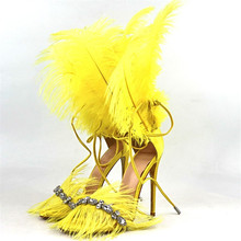 2019 Fashion Feather Gladiator Sandals Women Stiletto Cross-tied Pumps Crystal Open Toe Bling Rhinestone Stage Femme