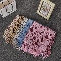 Estilo de la moda Del estampado leopardo de la Borla Bufanda Mujer Primavera Otoño Bufandas de Pashmina Mantón de La Bufanda Cuadrada de Seda de Leopardo