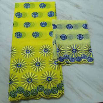 5Yards/PC Beautiful yellow african cotton fabric with nice pattern embroidery and 2yards blouse net lace set for dress BC54-1