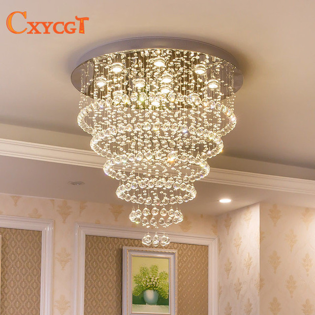 Modern Crystal Chandelier Lighting Large Pendant Lamp Fixtures Hotel Projects Staircase Lamps Restaurant Cottage Lights