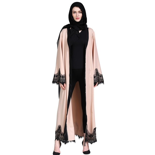 Aliexpress Com Buy Adult Lace Patchwork Apricot Cardigan Islamic