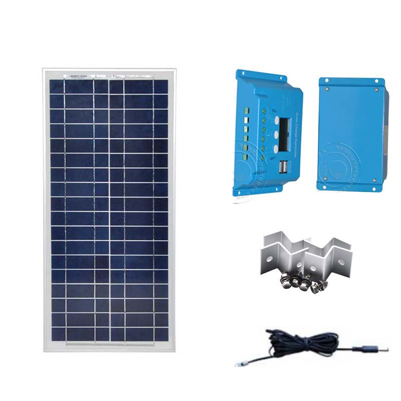 Portable Kit Solar Panel 12v 20W Solar Charger Controller 12v/24v 10A PWM Z Bracket Phone Charger Camp Car Caravan Motorhome portable solar kit for camping solar panel 12v 20w diy z bracket mount pwm solar charge controller 10a 12v 24v dual usb phone
