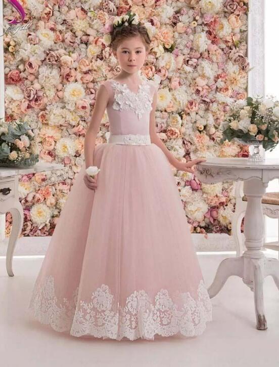 Girls Wedding Formal Dresses 2018 sleeveless Gauze Catwalk Flowers Girls Princess Dress Kids Birthday Long Party Prom Dress Pink