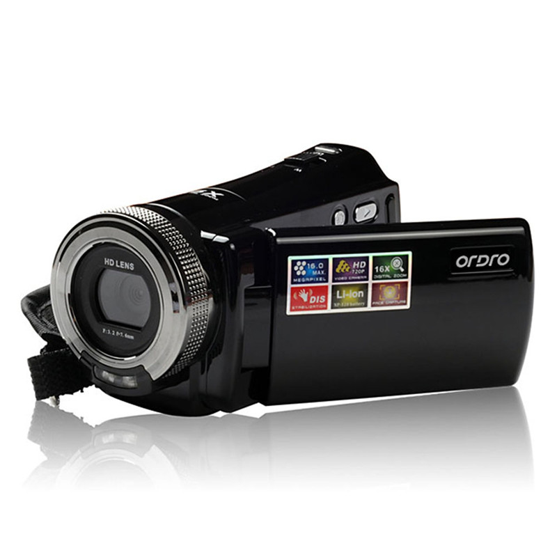 720P Camcorder Ordro DV-108 With 2.7 inch LCD 16MP HD Digital Video Camera 16X Zoom With High-end CMOS Sensor Camcorder DV hd 55e 2 7 tft cmos 16mp interpolation digital camcorder w 16x digital zoom black