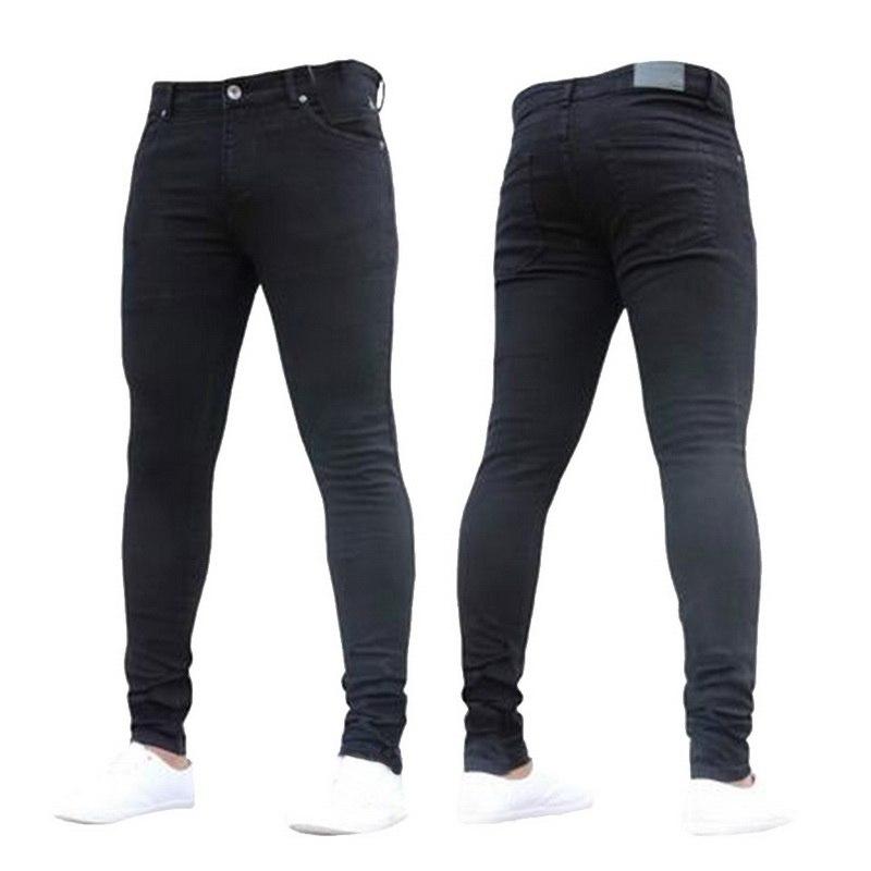NIBESSER, мужские брендовые обтягивающие джинсы, брюки, повседневные брюки,, джинсовые черные джинсы, homme, Стрейчевые узкие брюки размера плюс, уличная одежда 3XL - Цвет: black1
