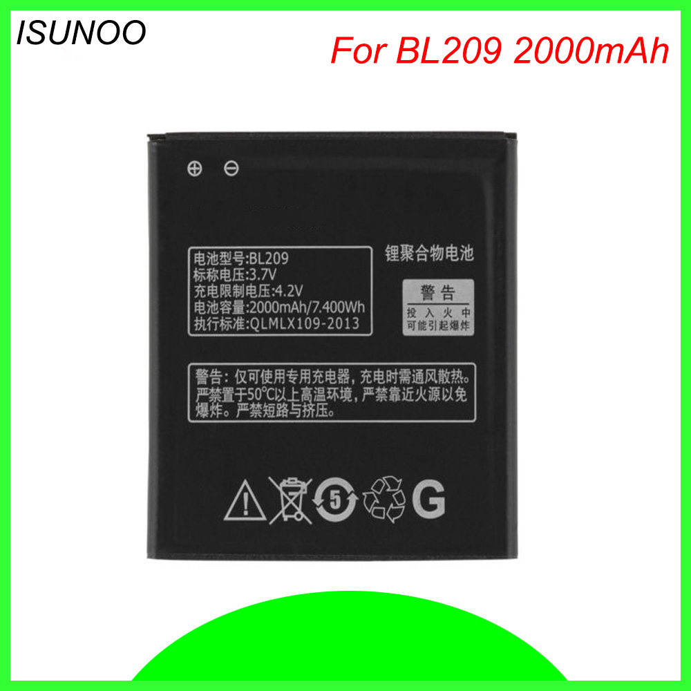 ISUNOO BL209 Battery For Lenovo A706 A788T A820E A760 A516 A378T A398T 2000mAh Rechargeable Replacement Mobile Phone Bateria image