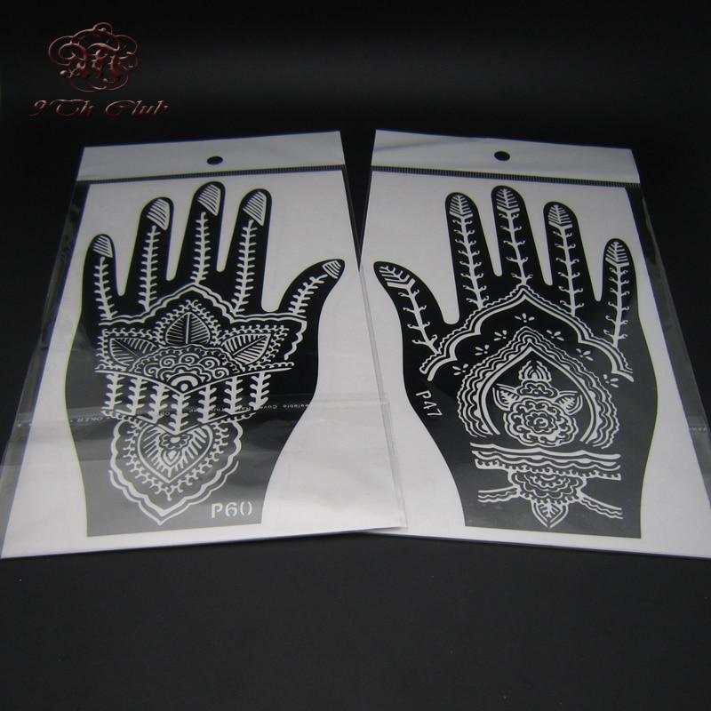 2 Pair Indian Henna Tattoo Stencil, Blomst Hånd Mehndi Henna Glitter - Tatovering og kroppskunst - Bilde 4