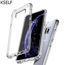 KSELF Crystal TPU Plain Case Cover for Samsung Galaxy S8 S9 Plus Note 8 Soft Silicone Clear Transparent Shock Resistant