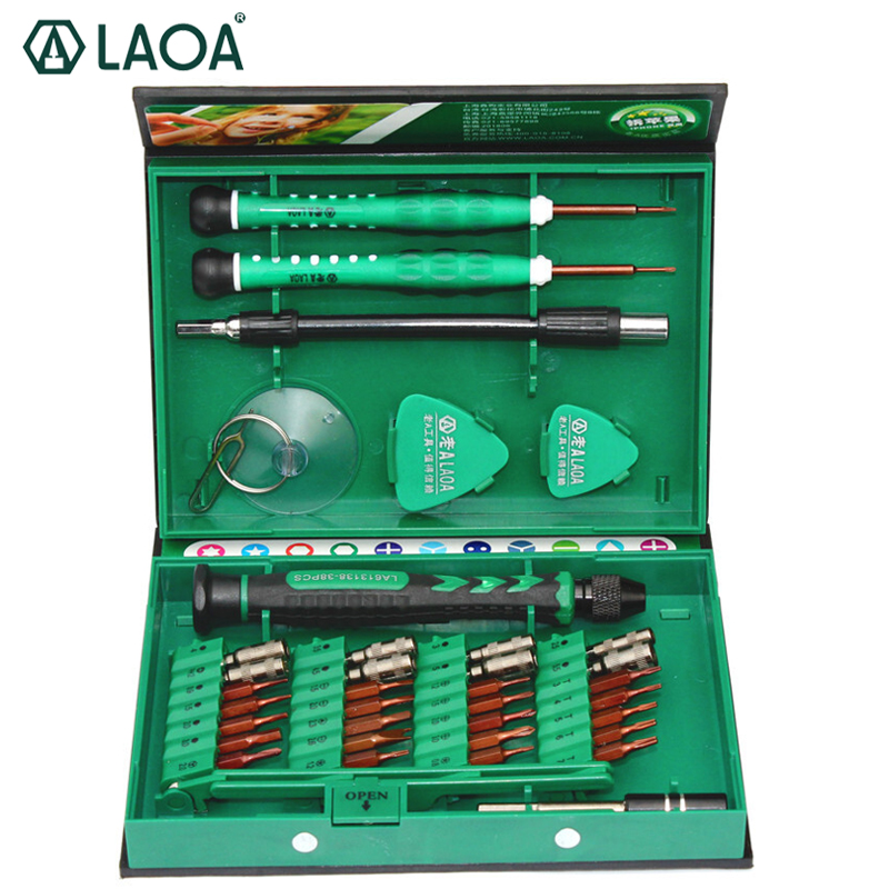 LAOA 38 en 1 Juego de destornilladores de precisión para teléfono móvil portátil Kit de herramientas de reparación destornilladores precisos herramientas de mano