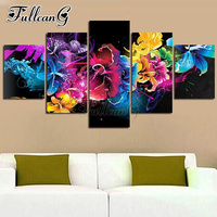 FULLCANG 3d diy diamond painting sale abstract colorful flowers 5 panel mazayka embroidery full square/round drill mosaic FC1116