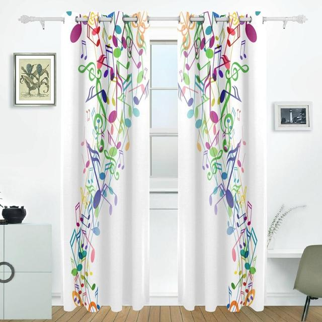 Music Note Curtains Drapes Panels Darkening Blackout Grommet Room Divider  For Patio Window Sliding Glass Door