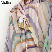 Vadim women print mid calf dress sexy V neck beach style bow tie casual chiffon female straight vintage dress vestidos QB748