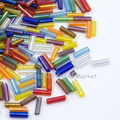 Transparent Colours Rainbow Glass Bugle Beads, AB Color, Mixed Color, 6x1.8mm, Hole: 0.6mm
