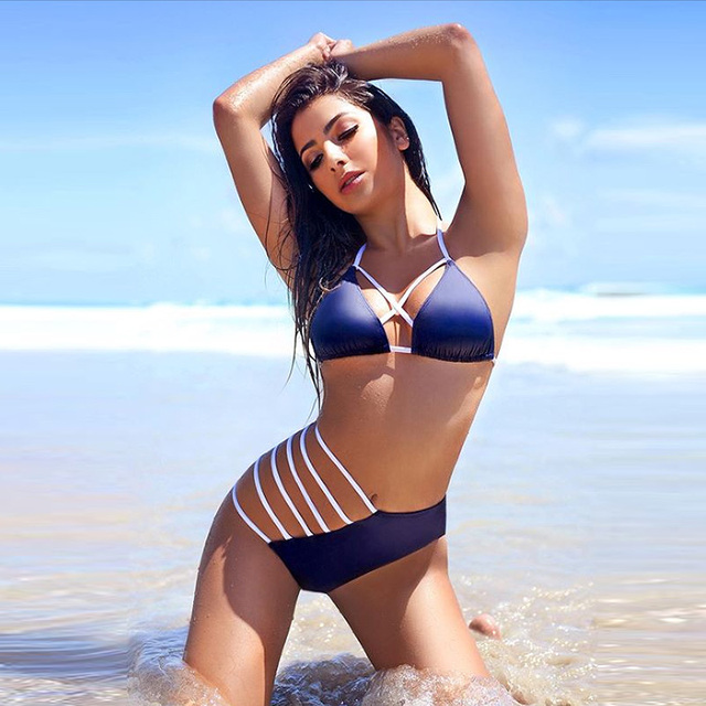 3f88b5440e 2018 New Sexy Bikinis Women Swimsuit Push Up Swimwear Bandage Cut Out  Bikini Set Halter Beach