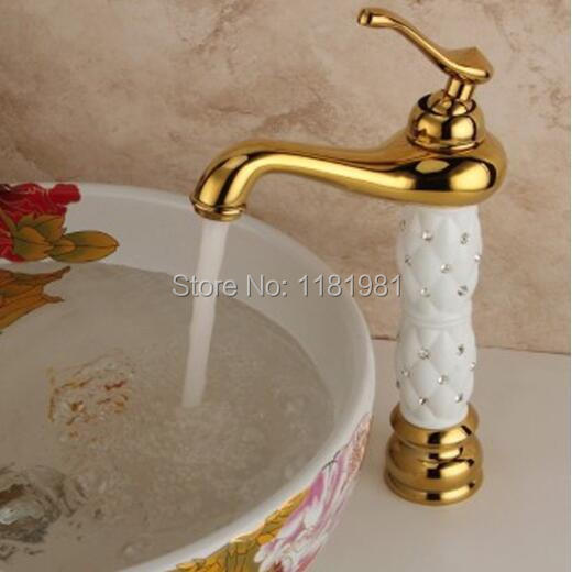 Luxury Gold copper white/black diamond body brass hot and cold mixture deck mounted faucet BT-3W цены
