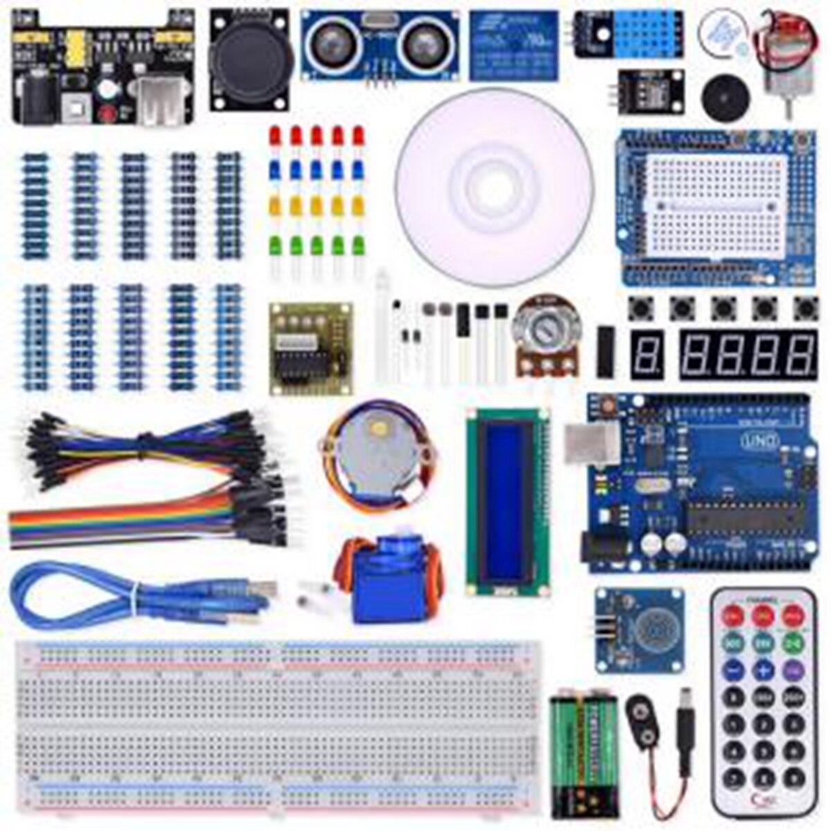 Super projet UNO R3 Kit de démarrage avec relais cavalier platine de prototypage LED SG90 Servo pour Arduino