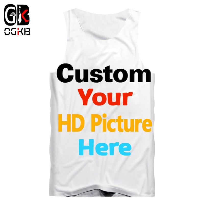 OGKB Dropshipping Wholesale Customized Tank Top Men's DIY Your Own Design 3D Vest Singlets Custom Fitness Sleeveless Tee Shirts