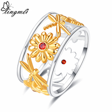 lingmei Wedding Flower Exquisite Jewelry Bohemia Style Red Cubic Zircon Silver 925 Ring Size 6 7 8 9 Anniversary Gifts