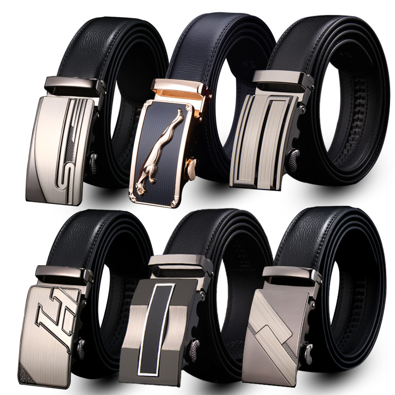 New Arrival Business Genuine Leather   Belt   For Men Automatic Buckle Cowskin leather Men   Belts   Fashion automatic buckle