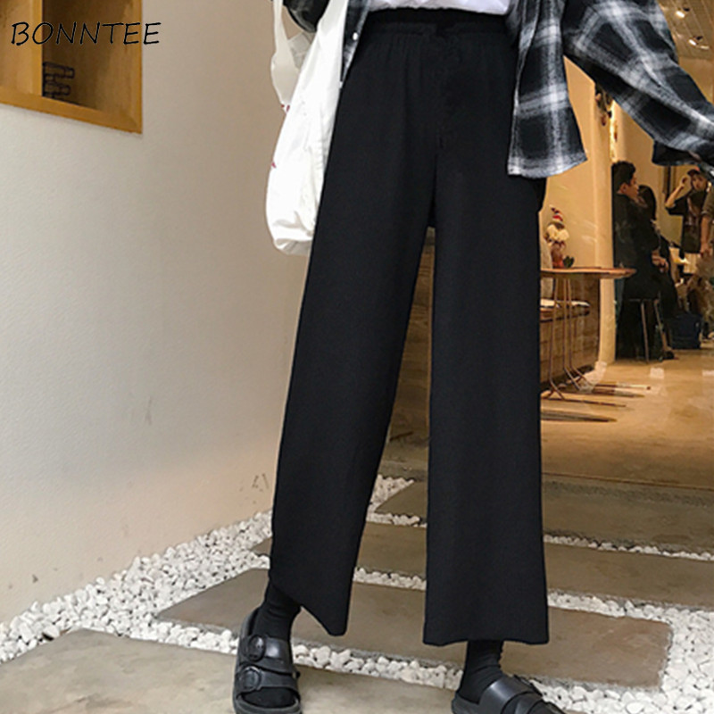 Pants Women 2020 Korean Version Womens High Waist Loose Casual Style Leisure Simple All-match Trendy Summer Wide-leg Trousers