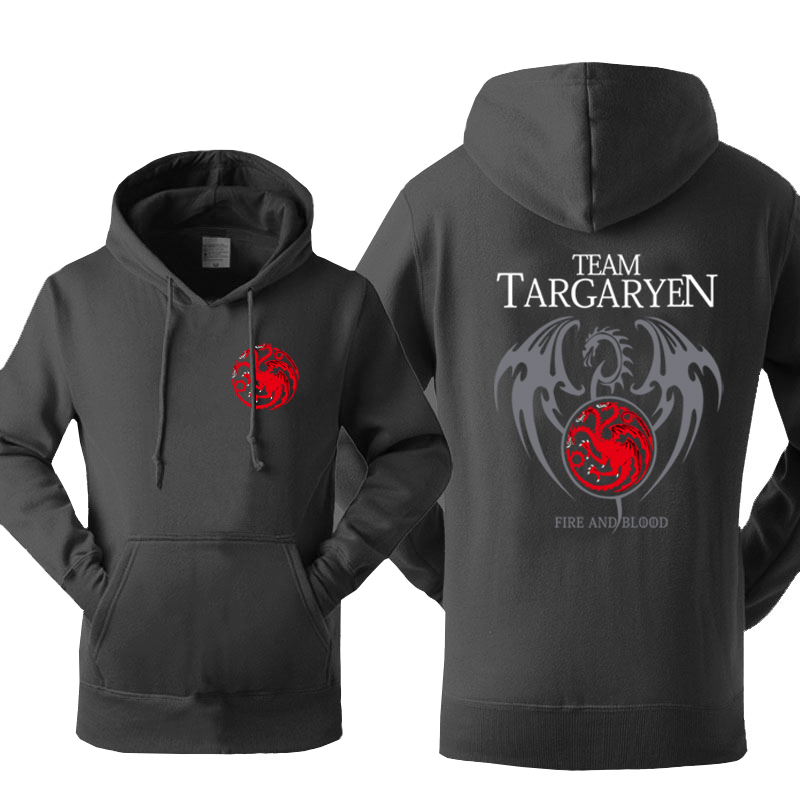Hot Sale Hoodies Sweatshirts 2018 Winter Fleece Autumn Hoody Print Game Of Thrones Team Targaryen Fire & Blood Sweatshirt Kpop