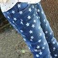 2016 moda outono do bebê das meninas dos meninos calças jeans crianças denim pentagrama impresso crianças calças de alta qualidade 3-10 anos