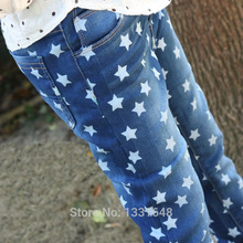 Baby boys girls jeans children denim pants pentagram printed kids trousers high quality 3-10 years
