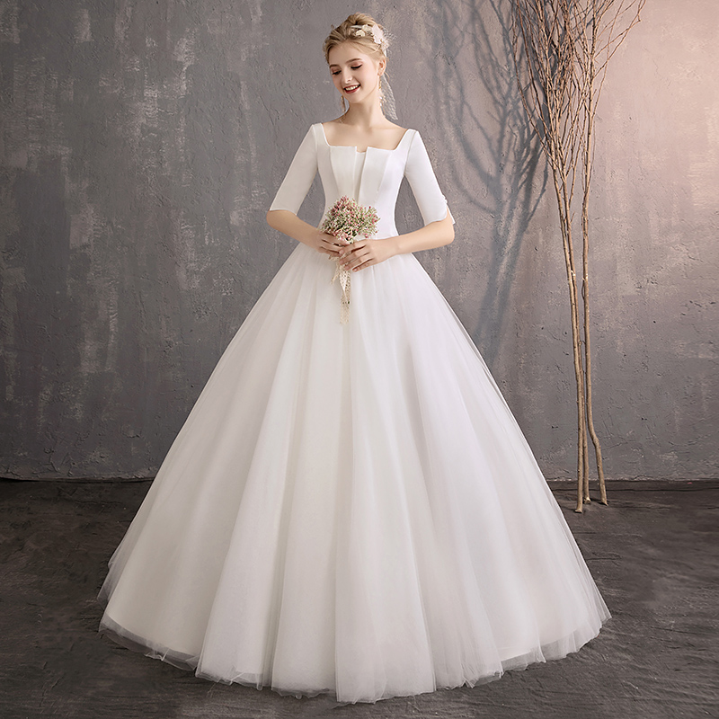 ADLN White Simple Wedding Dresses 2019 Half Sleeves Elegant A-line Bridal Dresses Lower Back Custom Made Muslim Wedding Gowns